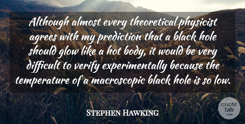 Stephen Hawking Quote About Almost, Although, Glow, Hole, Hot: Although Almost Every Theoretical Physicist...