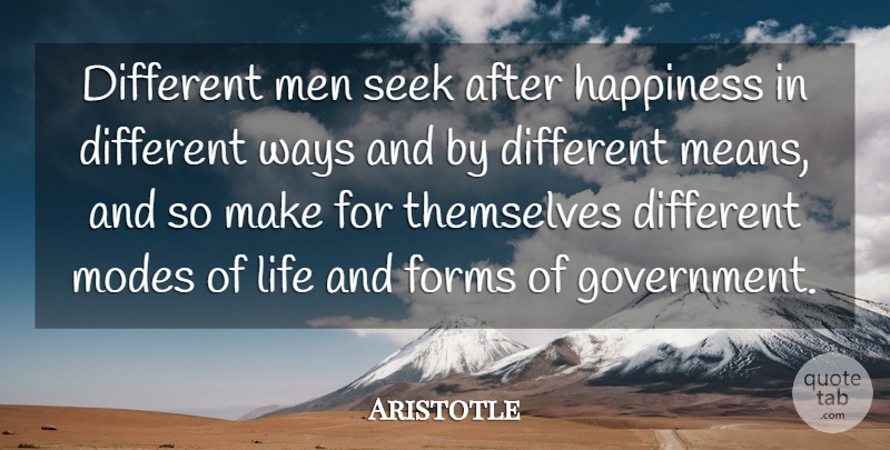 Aristotle Quote About Happiness, Happy, Mean: Different Men Seek After Happiness...