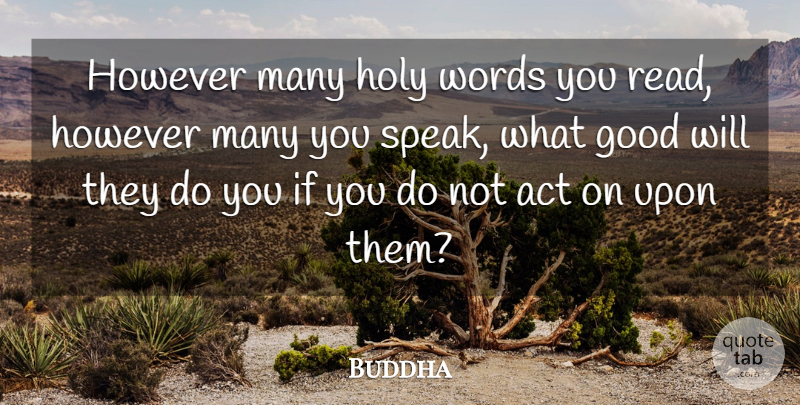 Buddha Quote About Good, Holy, However, Indian Leader, Service: However Many Holy Words You...