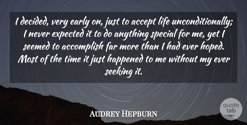 Audrey Hepburn Quote About Inspirational, Encouraging, Encouragement: I Decided Very Early On...