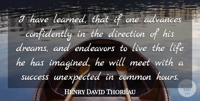 Henry David Thoreau Quote About Advances, American Author, Common, Direction, Endeavors: I Have Learned That If...