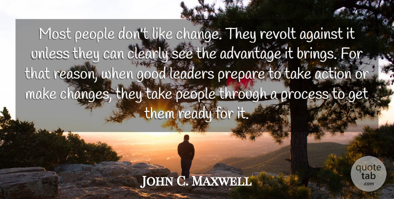John C. Maxwell Quote About People, Leader, Action: Most People Dont Like Change...