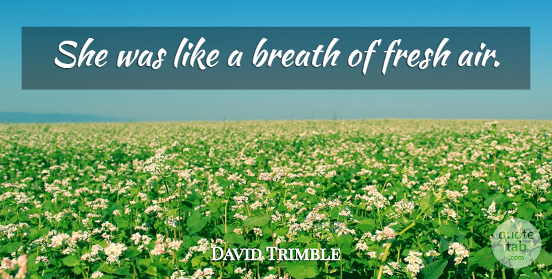 David Trimble Quote About Breath, Fresh: She Was Like A Breath...