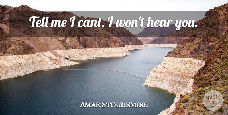 Amar Stoudemire Quote About Hear: Tell Me I Cant I...