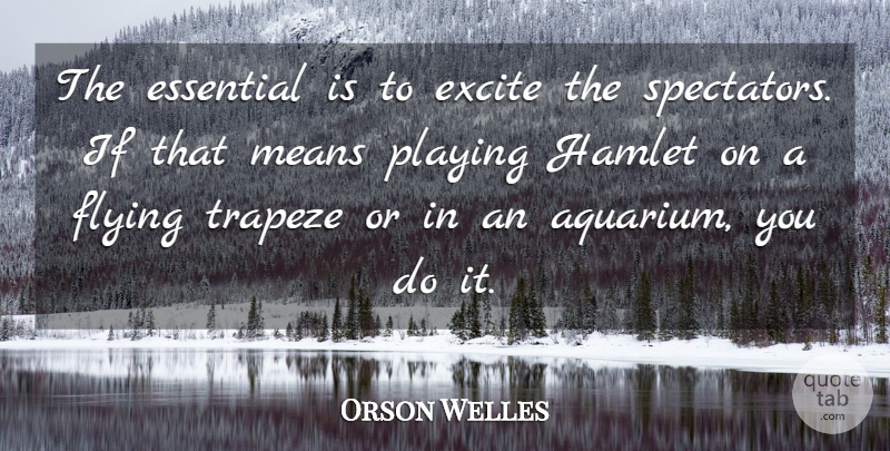 Orson Welles Quote About Mean, Aquariums, Flying: The Essential Is To Excite...