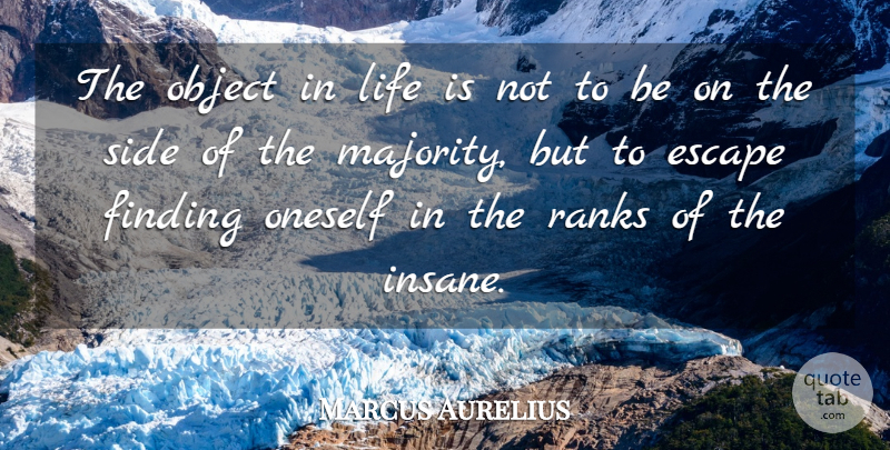 Marcus Aurelius Quote About Escape, Finding, Life, Object, Oneself: The Object In Life Is...