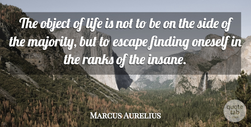 Marcus Aurelius Quote About Life, Depression, Insanity: The Object Of Life Is...