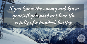 Sun Tzu Quote About Chinese Philosopher, Fear, Hundred, Results: If You Know The Enemy...