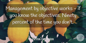 Leadership Quotes, Peter Drucker Quote About Inspirational, Leadership, Wise: Management By Objective Works If...