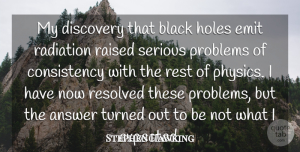 Answer Quotes, Stephen Hawking Quote About Answer, Consistency, Holes, Radiation, Raised: My Discovery That Black Holes...