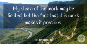 Helen Keller Quote About Inspirational, Work, Literature: My Share Of The Work...