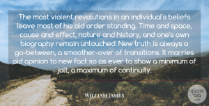 Truth Quotes, William James Quote About Beliefs, Biography, Cause, Fact, Leave: The Most Violent Revolutions In...