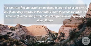 Mother Teresa Quote About Agree, Charity, Drop, German Philosopher, Less: We Ourselves Feel That What...