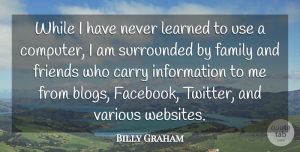 Information Quotes, Billy Graham Quote About Carry, Family, Information, Learned, Surrounded: While I Have Never Learned...