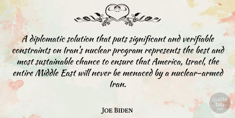 Joe Biden Quote About Best, Chance, Diplomatic, East, Ensure: A Diplomatic Solution That Puts...