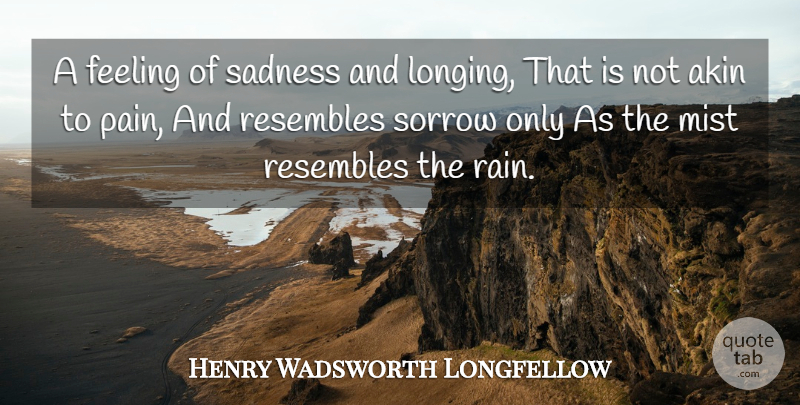 Henry Wadsworth Longfellow Quote About Pain, Rain, Sadness: A Feeling Of Sadness And...