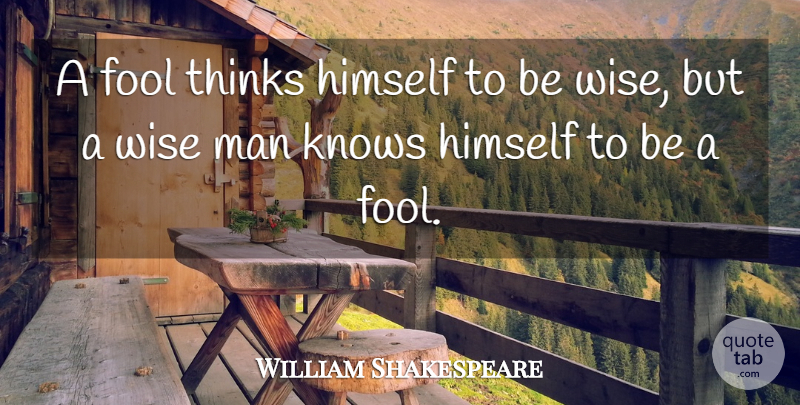 William Shakespeare Quote About Inspirational, Wise, Wisdom: A Fool Thinks Himself To...