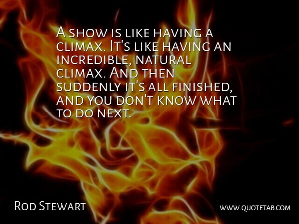 Rod Stewart Quote About Next, Incredibles, Natural: A Show Is Like Having...