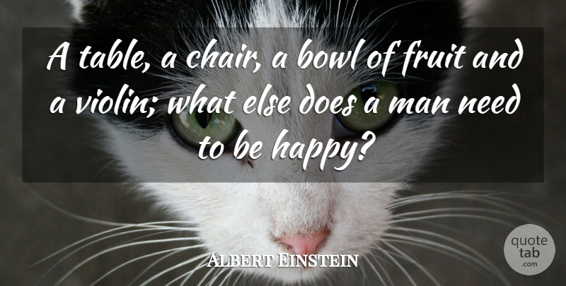 Albert Einstein Quote About Inspirational, Happiness, Encouraging: A Table A Chair A...