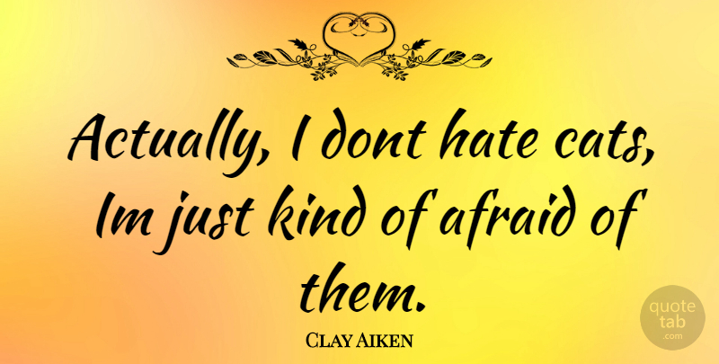 Clay Aiken Quote About Hate, Cat, Kind: Actually I Dont Hate Cats...