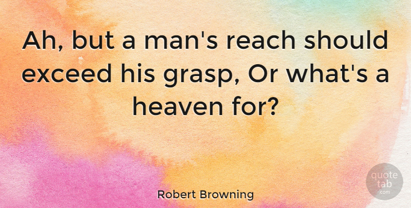 Robert Browning Quote About Inspirational, Life, Positive: Ah But A Mans Reach...
