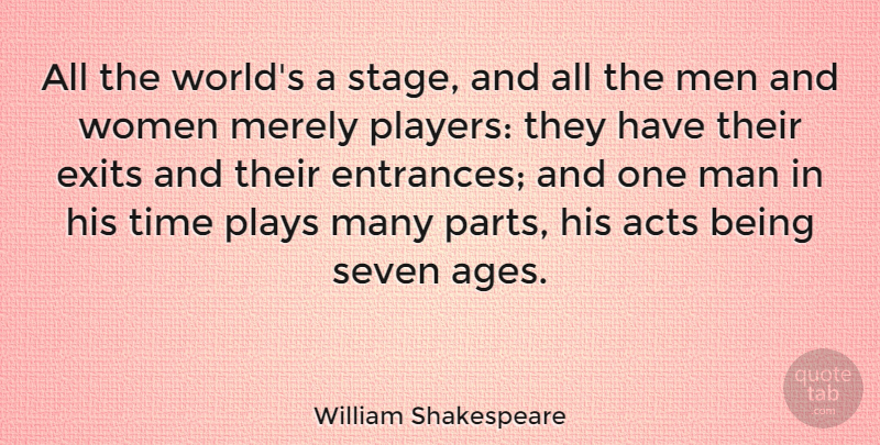 William Shakespeare Quote About Birthday, Time, Player: All The Worlds A Stage...