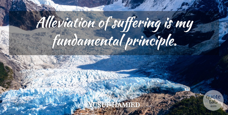 Yusuf Hamied Quote About Suffering, Fundamentals, Principles: Alleviation Of Suffering Is My...