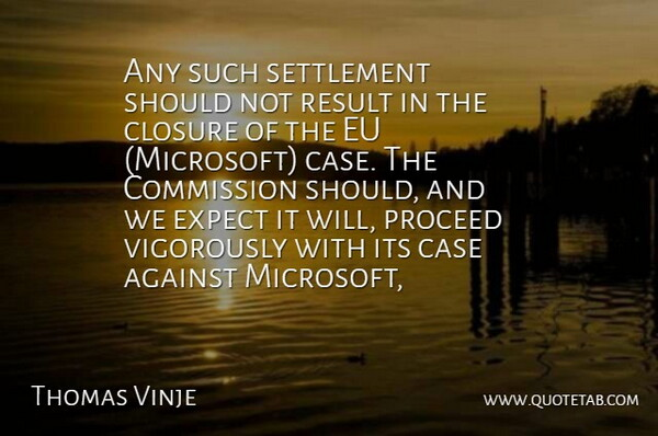 Thomas Vinje Quote About Against, Case, Closure, Commission, Eu: Any Such Settlement Should Not...
