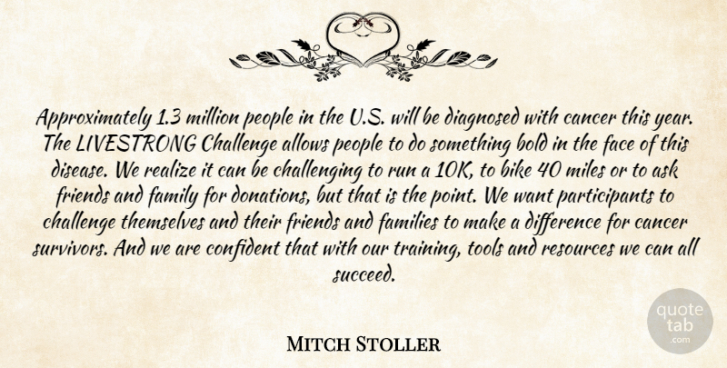 Mitch Stoller Quote About Ask, Bike, Bold, Cancer, Challenge: Approximately 1 3 Million People...