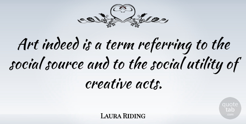 Laura Riding Quote About Art, Indeed, Referring, Source, Term: Art Indeed Is A Term...