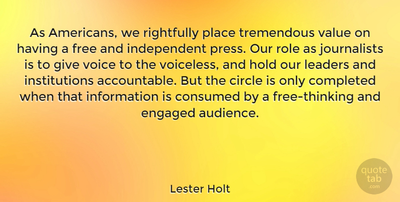 Lester Holt Quote About Independent, Thinking, Circles: As Americans We Rightfully Place...