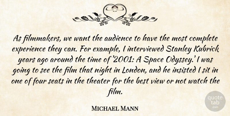 Michael Mann Quote About Night, Views, Years: As Filmmakers We Want The...