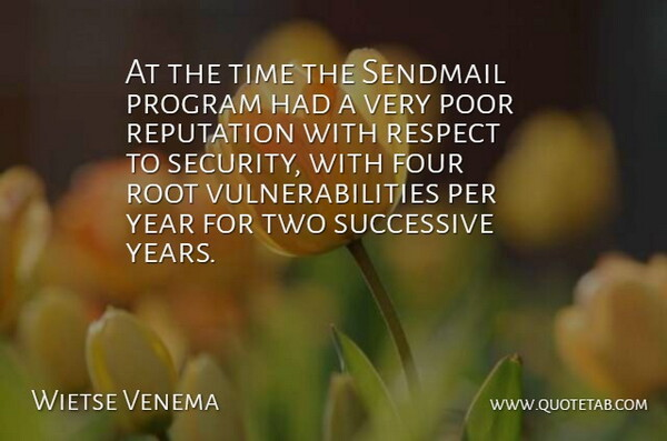 Wietse Venema Quote About Years, Two, Roots: At The Time The Sendmail...