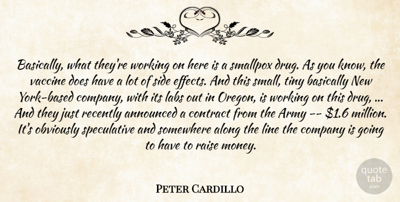 Peter Cardillo Quote About Along, Announced, Army, Basically, Company: Basically What Theyre Working On...