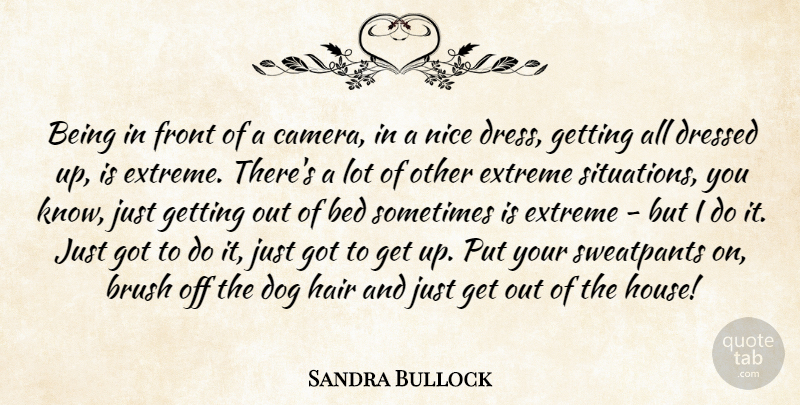 Sandra Bullock Quote About Dog, Nice, Hair: Being In Front Of A...