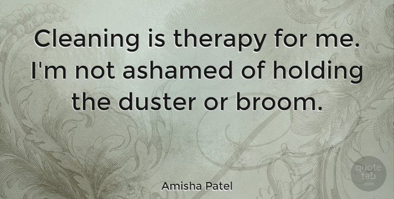 Amisha Patel Quote About Holding: Cleaning Is Therapy For Me...