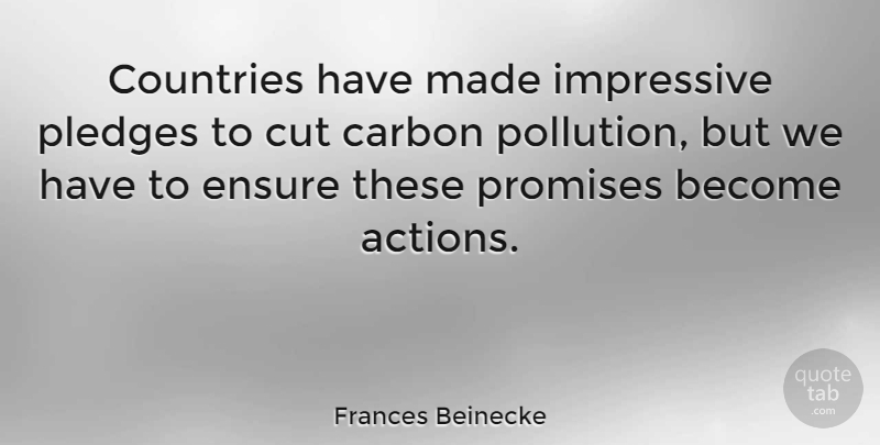 Frances Beinecke Quote About Carbon, Countries, Cut, Ensure, Impressive: Countries Have Made Impressive Pledges...
