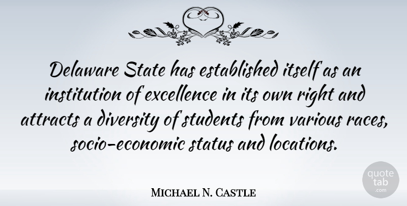 Michael N. Castle Quote About Race, Diversity, Excellence: Delaware State Has Established Itself...