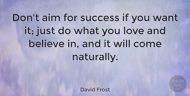 David Frost Quote About Love, Success, Meaningful: Dont Aim For Success If...