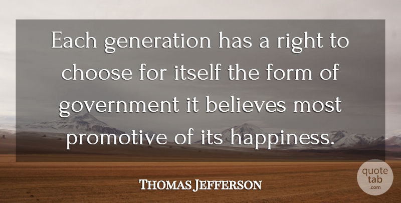 Thomas Jefferson Quote About Believe, Government, Generations: Each Generation Has A Right...