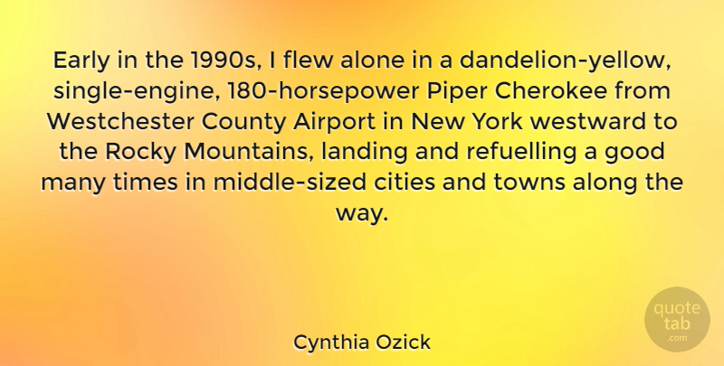 Cynthia Ozick Quote About Airport, Alone, Along, Cherokee, Cities: Early In The 1990s I...