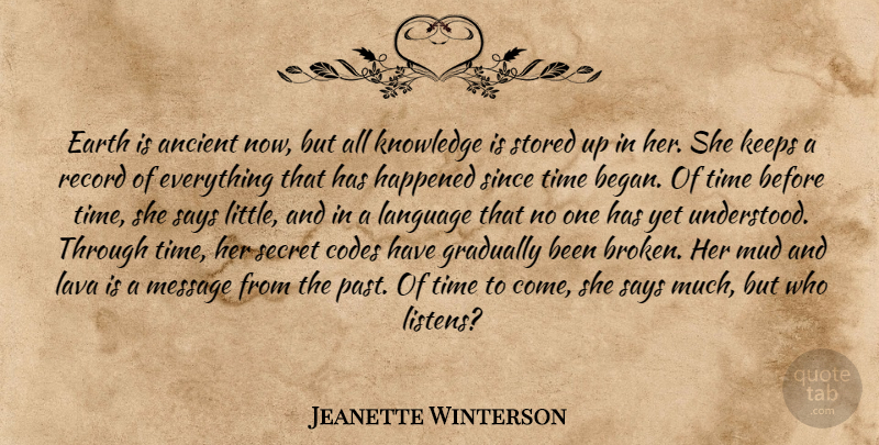 Jeanette Winterson Quote About Past, Broken, Secret: Earth Is Ancient Now But...