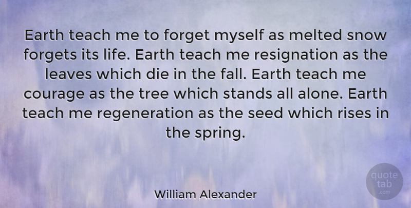 William Alexander Quote About Courage, Die, Earth, Forget, Forgets: Earth Teach Me To Forget...