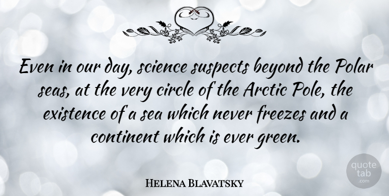 Helena Blavatsky Quote About Arctic, Beyond, Circle, Continent, Existence: Even In Our Day Science...