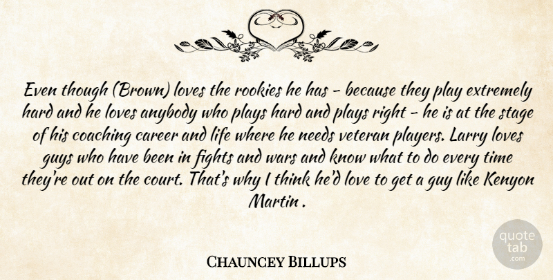 Chauncey Billups Quote About Anybody, Career, Coaching, Extremely, Fights: Even Though Brown Loves The...