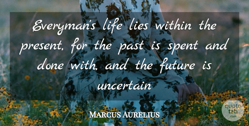 Marcus Aurelius Quote About Future, Lies, Life, Past, Spent: Everymans Life Lies Within The...