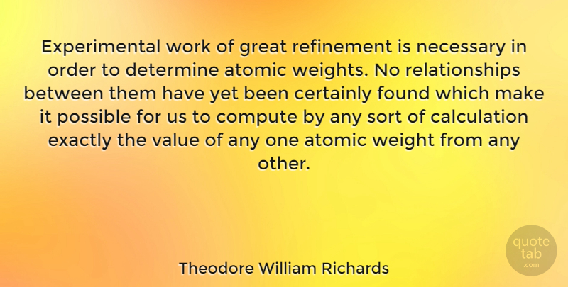 Theodore William Richards Quote About Atomic, Certainly, Compute, Determine, Exactly: Experimental Work Of Great Refinement...