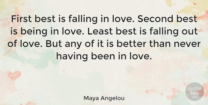 Maya Angelou Quote About I Love You, Falling In Love, Being In Love: First Best Is Falling In...