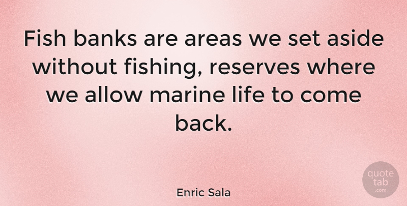 Enric Sala Quote About Allow, Areas, Aside, Banks, Life: Fish Banks Are Areas We...