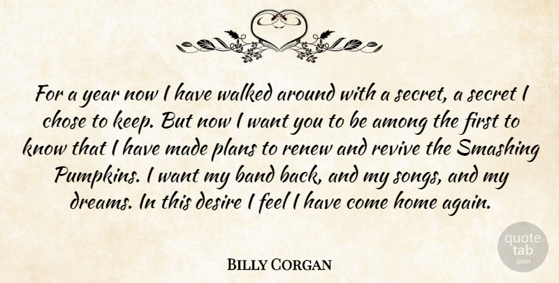 Billy Corgan Quote About Among, Band, Chose, Desire, Home: For A Year Now I...